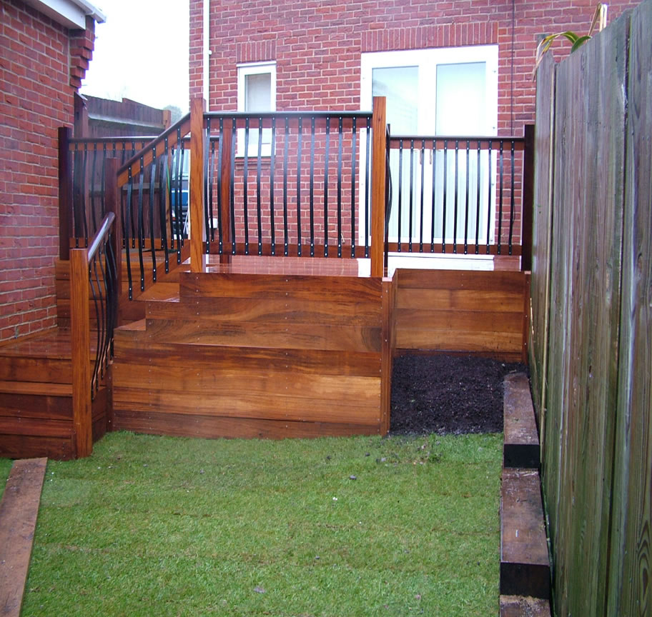 Small Hardwood Decking and Steps With Handrail and Balustrade