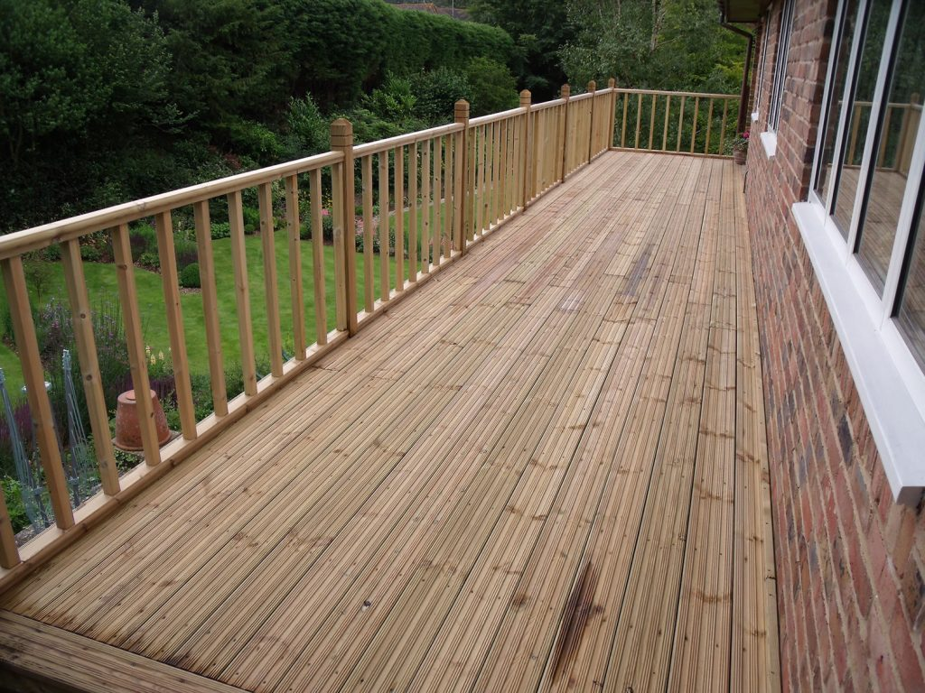Timber Decking With Handrail and Balustrade
